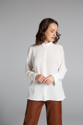 LANGE MOUW BLOUSE 1863 BY ETERNA - PREMIUM WIT UNI