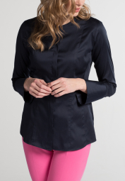 ETERNA LANGE MOUW BLOUSE SLIM FIT MARINEBLAUW UNI