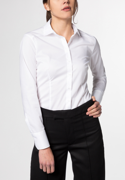 ETERNA LANGE MOUW BLOUSE SLIM FIT STRETCH WIT UNI