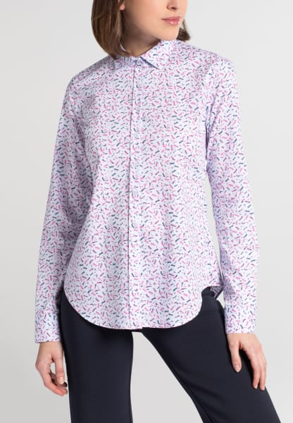 ETERNA LANGE MOUW BLOUSE SLIM FIT STRETCH LICHTBLAUW / PINK GEDRUKT