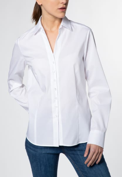 ETERNA LANGE MOUW BLOUSE MODERN CLASSIC STRETCH WIT UNI