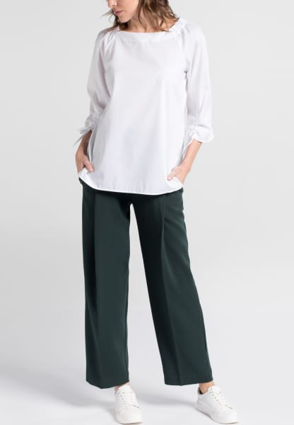 ETERNA DRIEKWART MOUW BLOUSE MODERN CLASSIC STRETCH WIT UNI