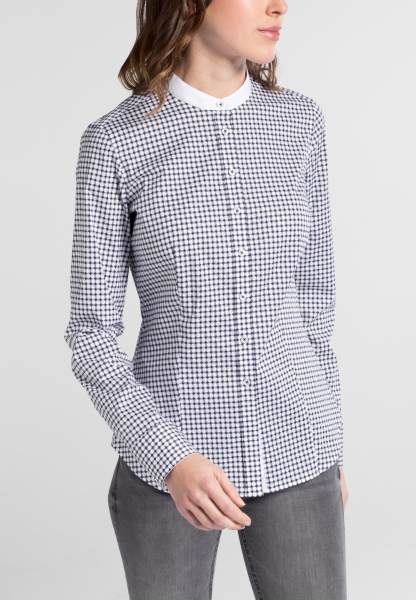 ETERNA LANGE MOUW BLOUSE SLIM FIT STRETCH NAVY / WIT GEDRUKT
