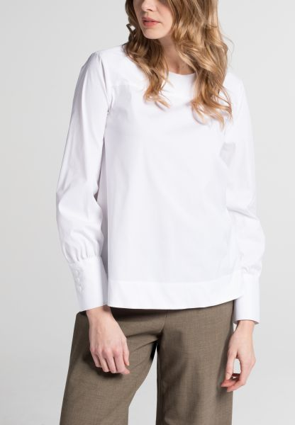 LANGE MOUW BLOUSE 1863 BY ETERNA - PREMIUM STRETCH WIT UNI