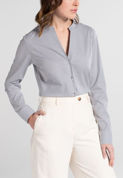 ETERNA LANGE MOUW BLOUSE SLIM FIT STRETCH BLAUW / WIT GEDRUKT