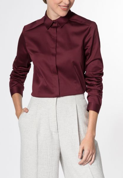 ETERNA Lange arm Blouse COMFORT FIT bordeaux uni