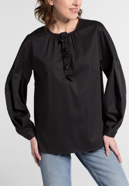 LANGE MOUW BLOUSE 1863 BY ETERNA - PREMIUM STRETCH ZWART UNI