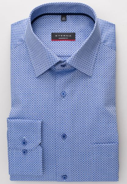 ETERNA LANGE ARM HEMD MODERN FIT TWILL BLAUW / WIT GESTRUCTUREERDE