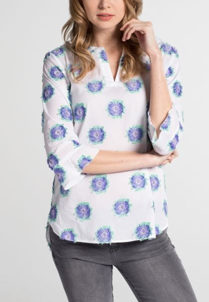 DRIEKWART MOUW BLOUSE 1863 BY ETERNA - PREMIUM FIL COUPÉ PURPER/GROEN