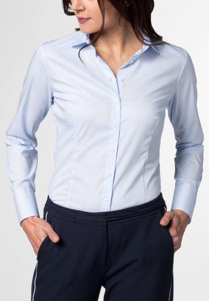 ETERNA LANGE MOUW BLOUSE SLIM FIT STRETCH LICHTBLAUW UNI