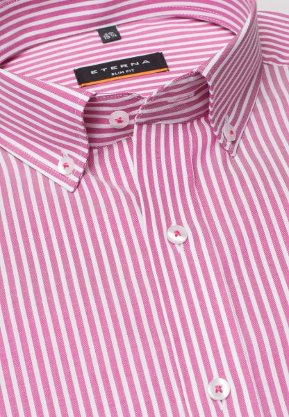 ETERNA KORTE ARM HEMD SLIM FIT OXFORD ROZE / WIT GESTREEPT
